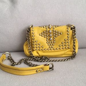 orYANY Yellow Leather Studded Crossbody Purse